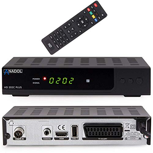 Anadol HD 202c Plus digitaler Full HD 1080p Kabel-Receiver [Umstieg Analog auf Digital] (HDTV, DVB-C / C2, HDMI, SCART, Coaxial, Mediaplayer, USB 2.0) – inkl. HDMI Kabel schwarz