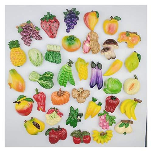 Hzdmfgs Fridge Magnet 3D Fruit Vegetable fridge magnet creative cartoon refrigerator magnets stickers Office boardsholder stickers strong magnet (Color : Random 12 fruits)