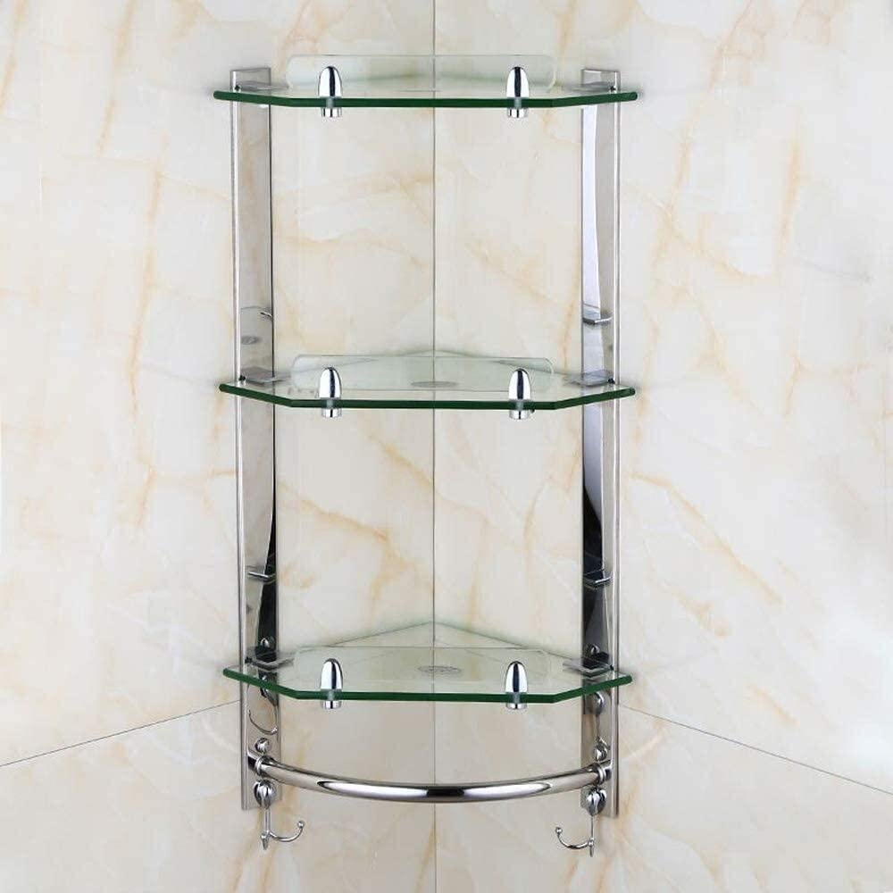 kgjsdf Cheap mail order shopping Bathroom Shelf 3-Tier Direct stock discount Glass Wall Shelves Mounted