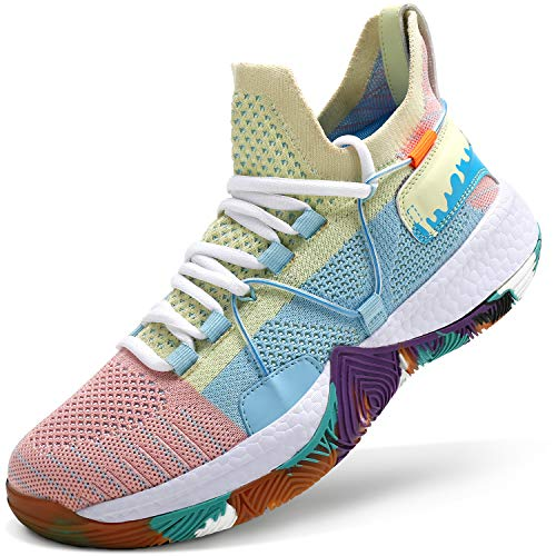 ASHION Kid's Basketball Shoes Boys Sneakers Girls Trainers Comfort Basketball Shoes for Boys(Little Kid/Big Kid) Blue