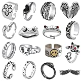 16 Pcs Cool Silver Plated Frog Rings Set, Cute Open Rings Set, Vintage Matching Rings, Cute and Stylish, Snake, Hug, Smiley Face, Moon and Sun Rings for Couples, Gift for Women Men Girls (16 Pcs Kings Set)