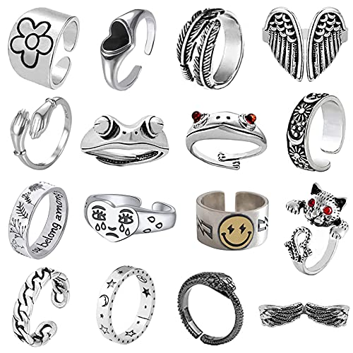 16 Pcs Cool Silver Plated Frog R...
