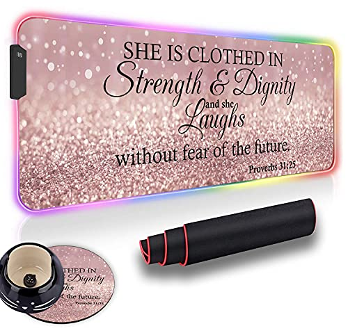 Gaming Mouse Pad and Cute Coaster, Proverbs 31:25 ,Bible Verse Rose Gold Glitter Soft Oversized Glowing Extended LED Mousepad, Anti-Slip Rubber Base Computer Keyboard Mouse Mat