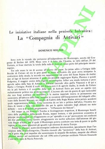 Le iniziative italiane nella penisola balcanica : la 'Compagnia di Antivari'.