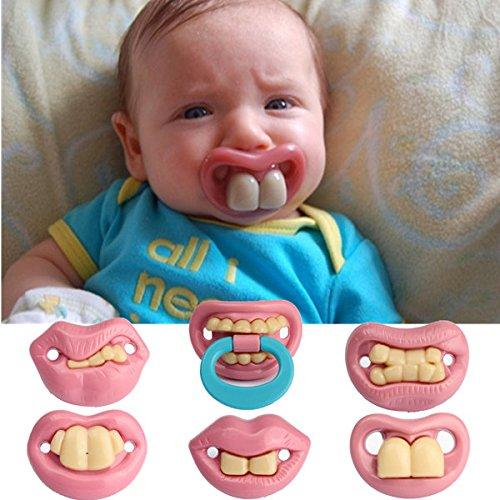 Bargain World Moda bebé divertido maniquíes maniquí pacifier broma dientes novedad labio niño chupete