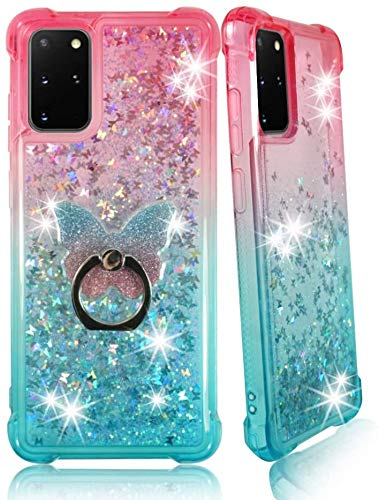 ZASE Samsung S20 FE 5G Clear Case Liquid Glitter Sparkle Bling Designed for Galaxy S20 FE Version ONLY Cute Women Girls Floating 3D Butterflies Waterfall Quicksand w/Phone Ring (Gradient Pink Aqua)