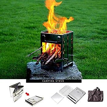 Lixada Camping Poêle Kit de Scie à Fil de Sarbacane pour Poêle à Bois Pliant Mini Gril De Barbecue avec Sac de Transport pour La Randonnée à Pied Camping Cuisine