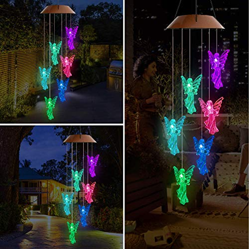 Lampelc Solar Mobile Wind Chime,Outdoor LED Light Solar Angel Wind Chimes Color-Changing Waterproof Hanging Solar Powered Chimes Lights for Garden Corridor Decoration (Angel Wind Chimes Light)