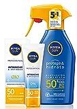 Lote Nivea Sun - Spray solar hidratante FP50 300 ml + crema solar facial antiedad antimanchas FP50 50 ml