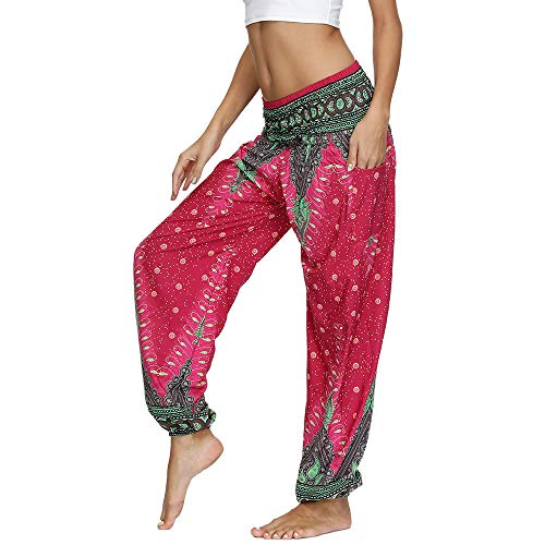 Nuofengkudu Mujer Yoga Pantalones Harem Tailandes Hippies Baggy Vintage Boho Flores Verano Alta Cintura Elastica Casual Danza Pilates Pantalon Pants Bombachos(W-Rosa Pavo,Talla única)