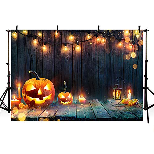 Mehofond Halloween Pumpkin Theme Horror Party Decoration Brown Wood Lamp Candle Backdrop Banner Photography Background Supplies Vinyl 7x5ft