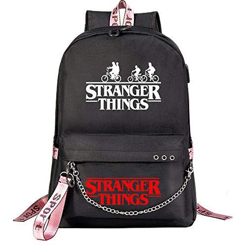 "Mochila ""Stranger Things"" Mochila Escolar de Moda Mochila Unisex, con Puerto USB 45/32/15cm Negro"
