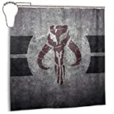 Sadie Mae Star-Wars The Manda-lorian Gray Polyester Fabric Shower Curtains Iron Hook Washable Waterproof Decorative Bathroom and Bathtubs 72x72 inches