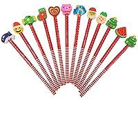 LOKIPA 消しゴム鉛筆 クリスマス鉛筆 鉛筆 木製 12本セット ギフト 子供 贈り物 ランダムで発送 サプライズ 可愛い カラフル 文具用品 教室用品