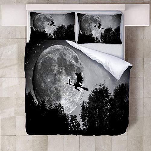 ARTEZXX dekbedovertrek met beddengoed set met - grijze maan heks - 100% polyester stof van gebruik zachte rimpel gratis hypoallergene Hide rits (1 dekbedovertrek + 2 kussenslopen)