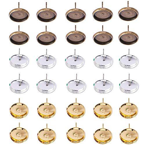 60PCS réglable Ring base Blank Glue-On 18 Mm Round