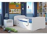 Bjird Cama Infantil 80x180 Cama para Niños Blanca con Barrera de protección contra caídas. cajones extraíbles y Base de Listones para niñas y niños - 80 x 180 cm Blanco vacío
