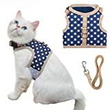 BEIJIA Cat Harness and Lead Set Escape Proof - Adjustable Soft Mesh Cat Harness for Cats Kittens Walking