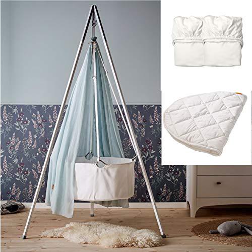 Leander Wiegen-SET - ALL INCLUSIVE - Wiege weiß mit Stativ weiß, Schleier dusty blue, 2 Spannbetttücher weiß, 1 Matratzenauflage