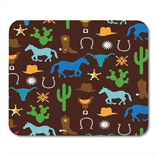 AOHOT Mauspads Silver Horse Cowboy Pattern Shoe Boot Boys Spurs Badge Mouse pad 9.5
