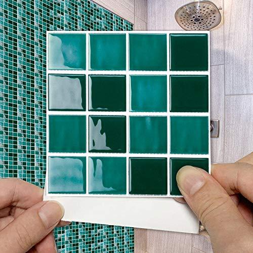 15 Piezas Pegatinas de Azulejos para Baño 10x10cm Verde Oscuro Pegatinas de Baldosas Adhesivas Vinilos para Cocina Mosaico Moderna Pegatinas de decorativo de Muebles