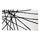 iDesign Abstract Bath Mat, Machine Washable Microfiber Accent Rug for Bathroom, Kitchen, Bedroom, Office, Kid's Room , 34' x 21', Black and White