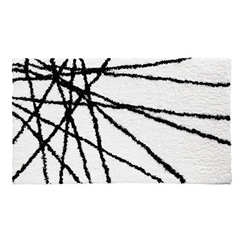 InterDesign Abstract Bath Rug, 34-Inch by 21-Inch, Black/White
