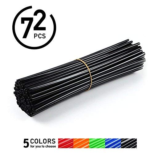 72Pcs Spoke Skins Cubierta del Radio de Rueda de Motocicleta para Motocross Bicis de la Suciedad - Tubo de Cubierta para Rayo Llantas 5 Colores ( Color : Negro )