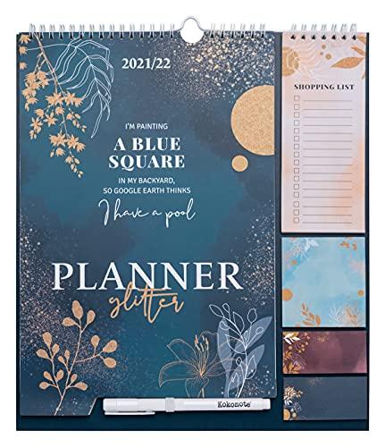 Kokonote CPF21009 Kalender 2021 2022 Glitter, Wandkalender