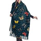Tengyuntong Bufanda de mantón Mujer Chales para, Bufanda de pashmina para mujer, mariposas coloridas que vuelan, chal de lana con tacto de cachemira suave extra grande para mujer