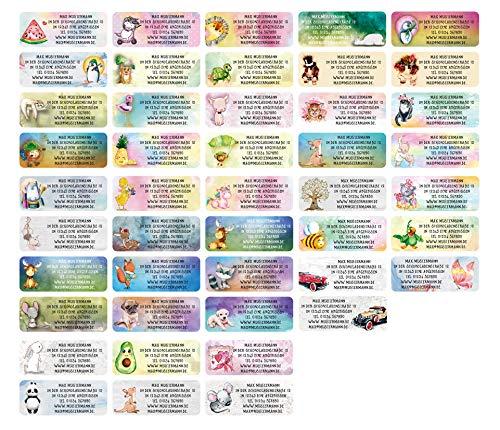 Sunnywall® Adress-Etiketten - Adress-Aufkleber Sticker Namensaufkleber mit Ihrem Wunschtext 57x 23mm, für 1 bis 5 Zeilen Text - 45 Stück – 45 Hintergründe zur Auswahl (Mix Etiketten)