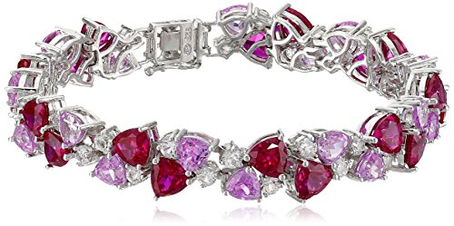 Sterling Silver Created Ruby, Pink Sapphire, and White Sapphire Bracelet, 7.25'