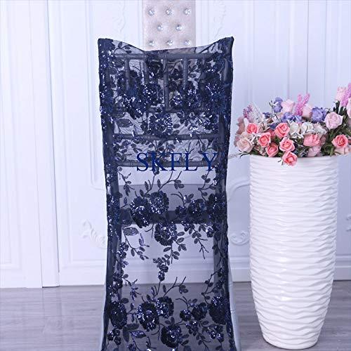 PCSACDF Neue 5 Farben nach Maß Großhandel billig Hochzeit Perlen Rose Gold Stickerei Muster Pailletten Stuhlabdeckung Chiavari Stuhl Marineblau