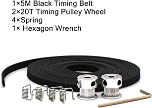 5m GT2 Timing Belt with 4pcs Belt Locking Spring and 2Pcs Bore 5mm 20Teeth Timing Pulley Wheel for 3D Printer (Black)
