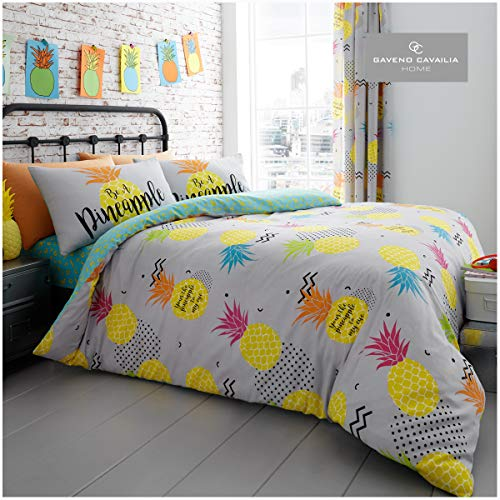 Gaveno Cavailia Novetly Easy Care Duvet Cover Quilt Bed Set With Pillow Case, Reversible, Poly Cotton, Pineapple Multi, Double Size Bedding