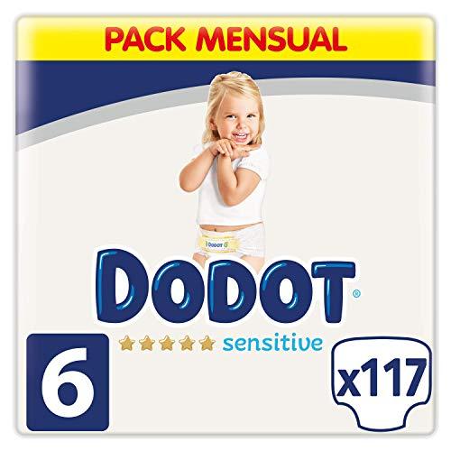 Dodot Pañales Bebé Sensitive Talla 6 (+13 kg), 117 Pañales, Óptima Protección de la Piel de Dodot, Pack Mensual