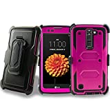 Customerfirst LG K7 / Tribute 5 / Escape 3 / Treasure / Phoenix 2 Heavy Duty Dual-Layer Full-body w/ Built-in Screen Protector Rugged Holster Armor Case & Belt Clip + Kickstand + keychain (Purple)