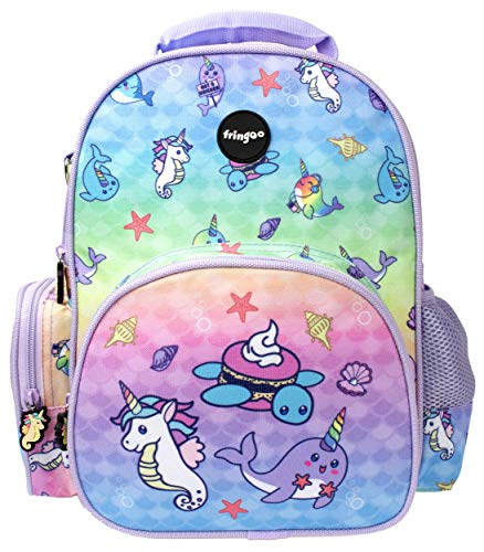 Fringoo - Kids Backpack for Girls   Designed for Young Children and Toddlers   Perfect for Nursery or Primary School   Machine Washable - Narwhal & Seahorse