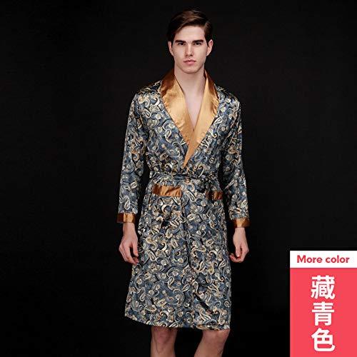 Pijama de Seda de Verano para Hombre camisón de Manga Larga
