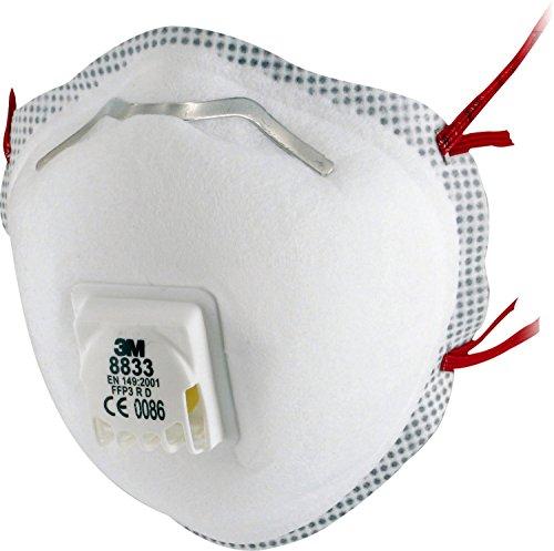 3M 8833 Einweg-Atemschutzmaske, FFP3, mit Ventil, 10 Stück