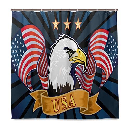 Wamika Duschvorhang, amerikanischer Adler & USA-Flagge, Heimdekoration, Gedenktag 4. Juli, Stoff, schimmelresistent, wasserdicht, Badewannen-Vorhang, Tuch mit 12 Haken, 183,0 cm x 183,0 cm