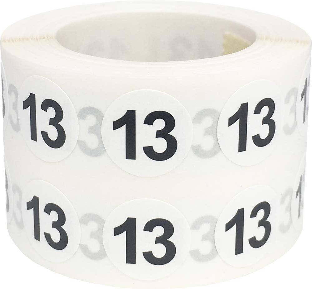 Número 1 Etiquetas Circulares, 13 mm 1/2 Pulgadas Etiquetas de Inventario 1000 Paquete