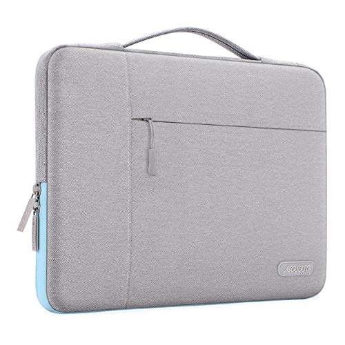 MOSISO Funda Blanda Compatible con 13-13,3 Pulgadas MacBook Air/MacBook Pro Retina/2019 Surface Laptop 3/Surface Book 2, Poliéster Maletín Protectora Multifuncional Bolso, Gris & Azul Caliente