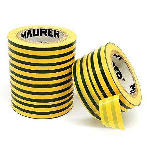 6 Rollen gelb & grün gestreift Elektrisches Isolierband starkes Klebeband PVC Klebeband 17 mm x 9 m