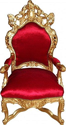 Casa Padrino Barock Thron Sessel Bordeaux Rot/Gold - Unikat - Barock Möbel Tron Königssessel