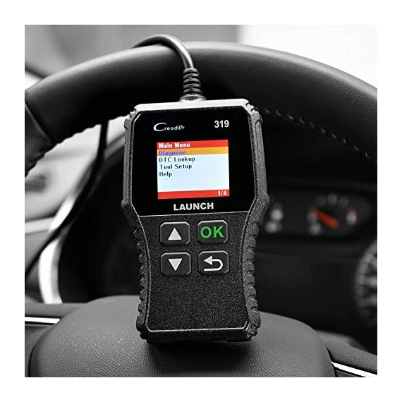 LAUNCH OBD2 Scanner CR319 Check Engine Code Reader with Full OBD2 Functions, Car Engine Fault Code Reader CAN Scan Tool… 9 【CHECK ENGINE LIGHT OBD2 SCANNER】The obd2 scanner CR319 full obd2 function scanner can fast read and clear trouble codes, check emission-related monitors, accurately pinpoint the problems of your vehicle, turn off the MIL (Malfunction Indicator Lamp), and reset the monitors. It enables you to fix the issues yourself, or enlighten you about what might happen before bringing in for repairing. Save your money! Save your time! OVER 200,0000 DIYER 's First Choice !!! 【READ AND CLEAR CODES READER】The lowest price obd2 scanner with full obd2 function scanner, including Read and erase code (Generic, Manufacturer Specific, and Pending Codes) and show code definitions, I/M Readiness, live date, Freeze Frame, Vehicle Information, O2 Sensors, EVAP, On-Board Monitor Test (Mode 6), Component Test, etc,which can help you find the hidden problems and simplify diagnosis, resolve the reasons which light up the engine light, and present you the status of the car engine. 【ONE-CLICK I/M READINESS & DTC LOOKUP】The code reader is equipped with One-Click I/M readiness, which makes it more efficient to check the emission state and readiness so as to have a clear idea about vehicle health status. To assist you in passing the emission test easily, the OBD2 code reader would make sure the monitors are all set. The built-in DTC library with a database of over 3000 code definitions, automatically displayed after reading. Read the definitions, solve the problems.