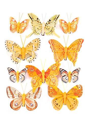 Heitmann Deco Lot de 10 Papillons avec Clip de Fixation Orange