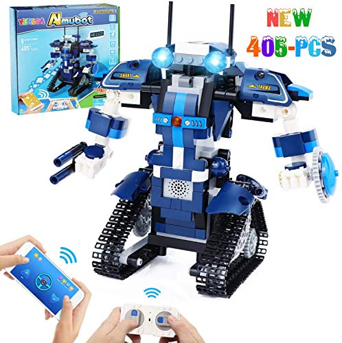 Yerloa STEM Toys for Boys, Robot Building Set, STEM Building Blocks Robot, Remote & APP Controlled Robots Educational Science Toys Kits for 8,9-14 Year