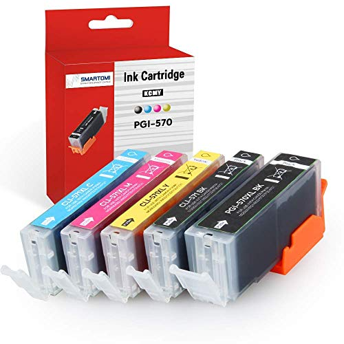 SMARTOMI 5PK PGI-570 XL CLI-571 XL Compatible Ink Cartridges Multi-Pack Canon pgi-570 Black cli-571 CMY Ink for Used with Canon Pixma MG5750 MG5751 MG5752 MG5753 MG6851 MG6850 MG7750 Series Printers