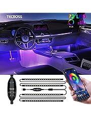 Binnenverlichting voor auto, Tecboss LED-stripverlichting, sfeerverlichting met 72 leds waterdicht, Bluetooth APP afstandsbediening, USB-poort autolader lichtbalken, DC 5V